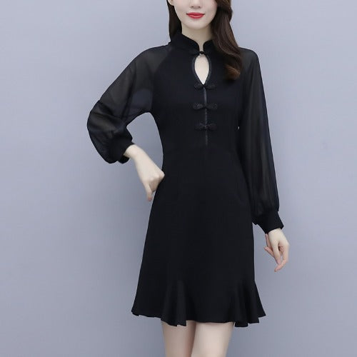 Plus Size Black Sexy Long Sleeve Cheongsam Dress