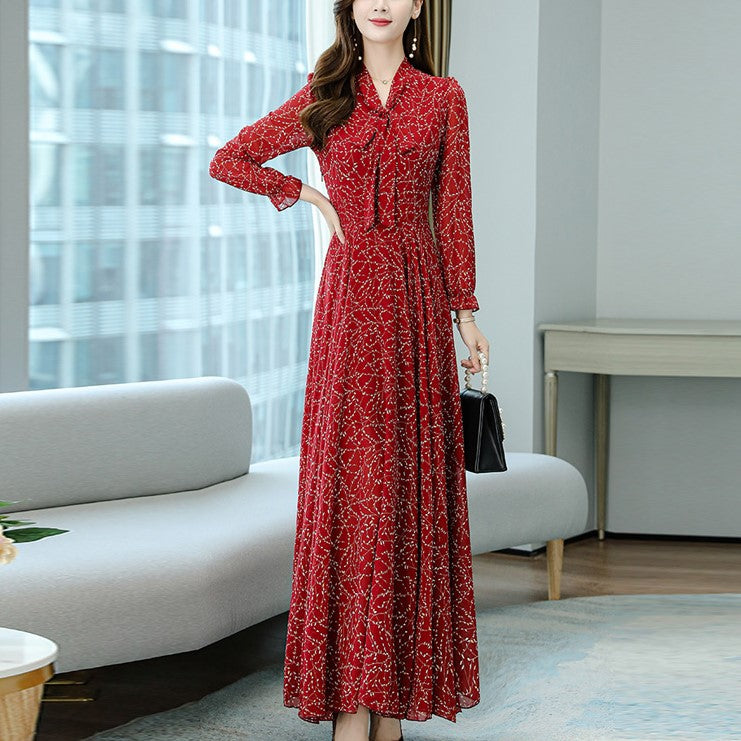 Plus Size Pussybow Floral Print Long Sleeve Maxi Dress