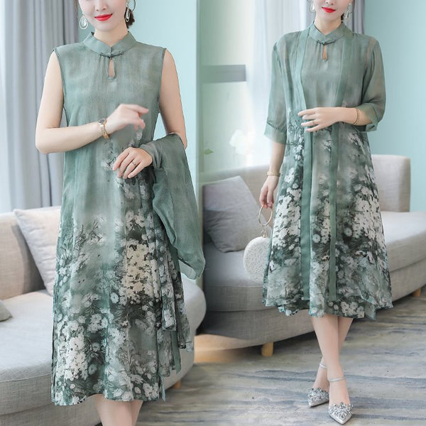 Plus Size Oriental Green Chiffon Cheongsam Mid Sleeve Midi Dress With Jacket Set