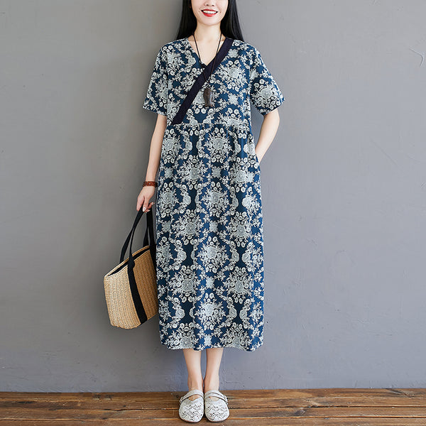 Plus Size Ethnic Blue Cheongsam Midi Dress