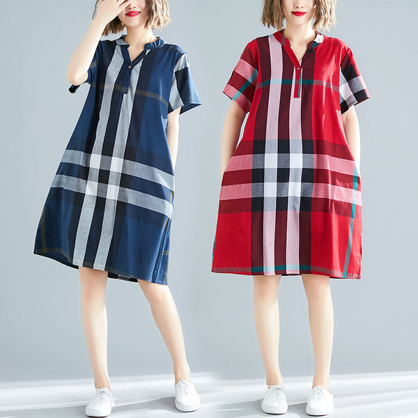 Plus Size Checked Short Sleeve Shirt Dress