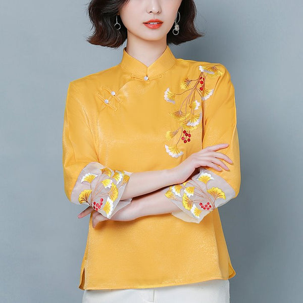 Plus Size Colourblock Cheongsam Mid Sleeve Top