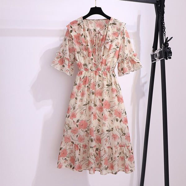 Plus Size Floral Frill Collar Short Sleeve Midi Dress