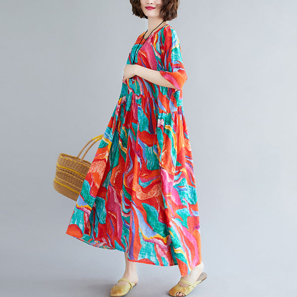 Plus Size Rainbow Kaleidoscope Short Sleeve Midi Dress