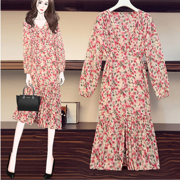 Plus Size Red And Pink Floral Mermaid Long Sleeve Midi Dress
