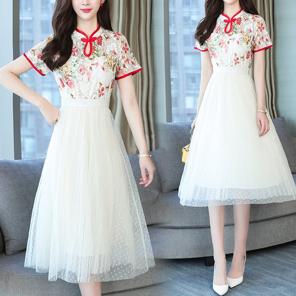 Plus Size White Tulle Floral Cheongsam Short Sleeve Midi Dress
