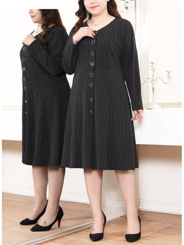 Sereen V Neck Buttons Stripe L/S Midi Dress (EXTRA BIG SIZE)
