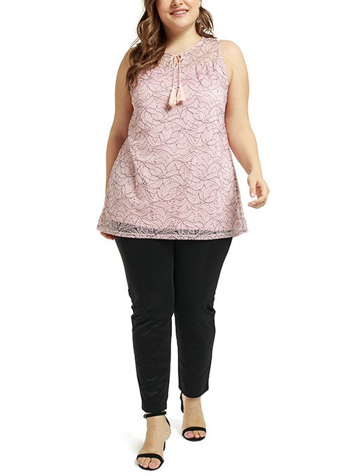 Tami Plus Size Lace Tassel Sleeveless Blouse (Suitable For Chinese New Year, Weekends, Work, Office And Weekends) (Pink, White) (EXTRA BIG SIZE)
