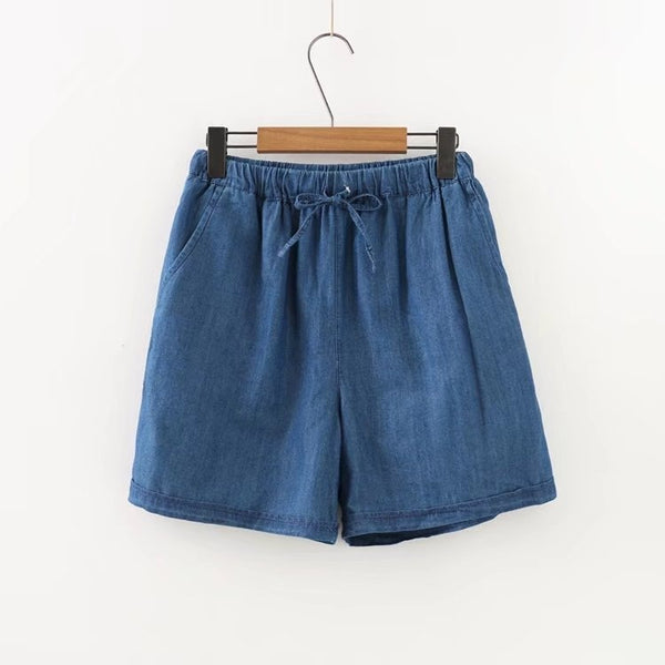 Ailise Plus Size Elastic Waistband Tencel Denim Shorts (EXTRA BIG SIZE)