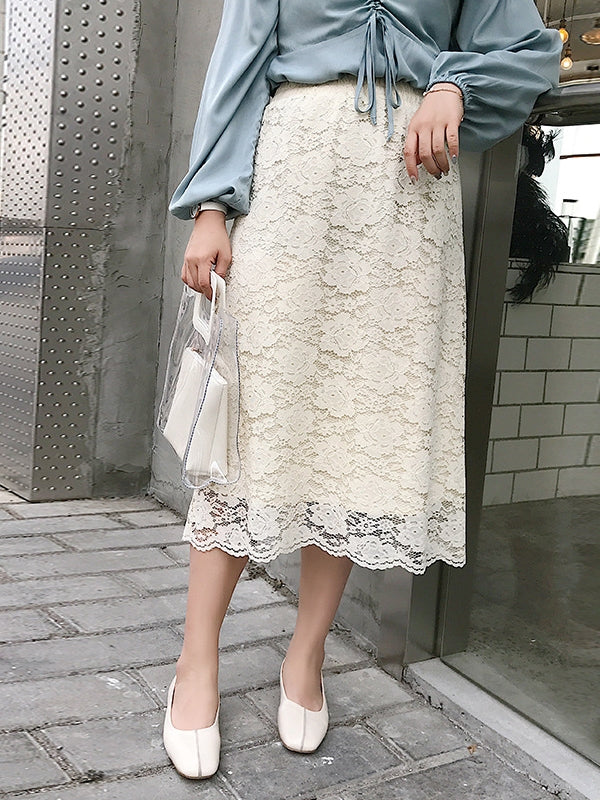 Lace Midi Skirt (Black, Cream)