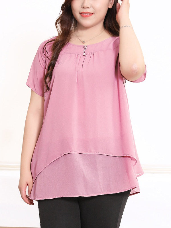 Rema Pearl Charm Chiffon S/S Blouse (Black, Pink) (EXTRA BIG SIZE)