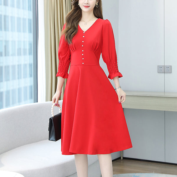 Plus size buttons v neck mid sleeve dress