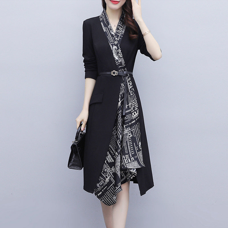 Plus size work wrap long sleeve dress