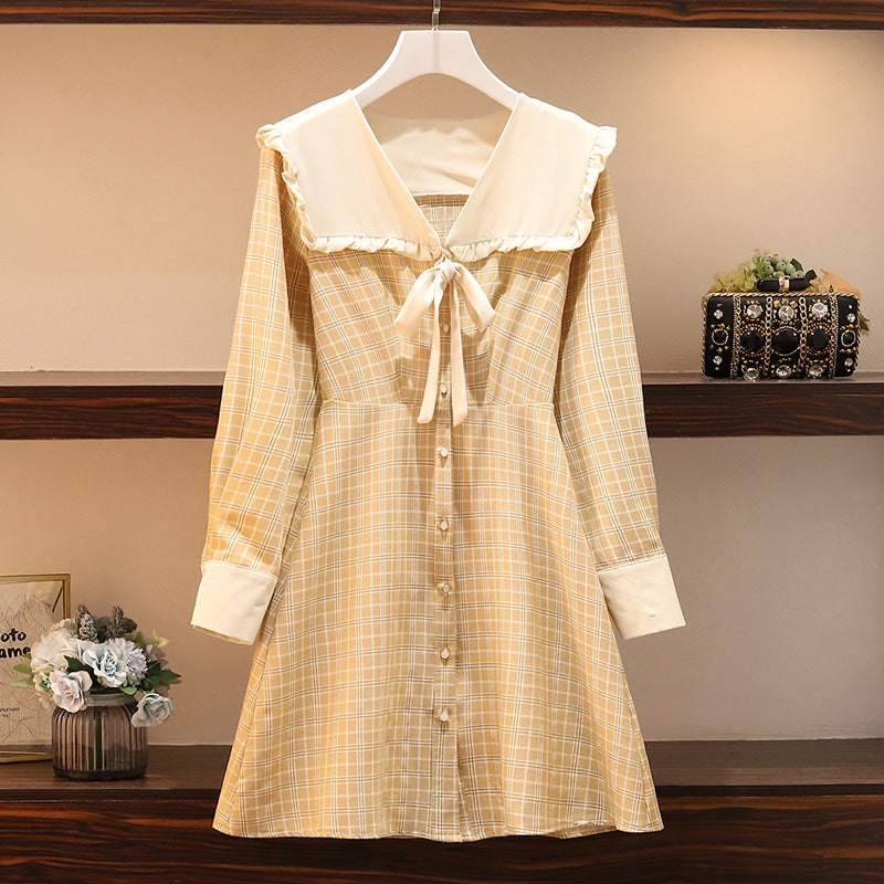 Plus Size V Neck Buttons Pinafore Ribbon Button Down Long Sleeve Dress (Blue, Yellow)