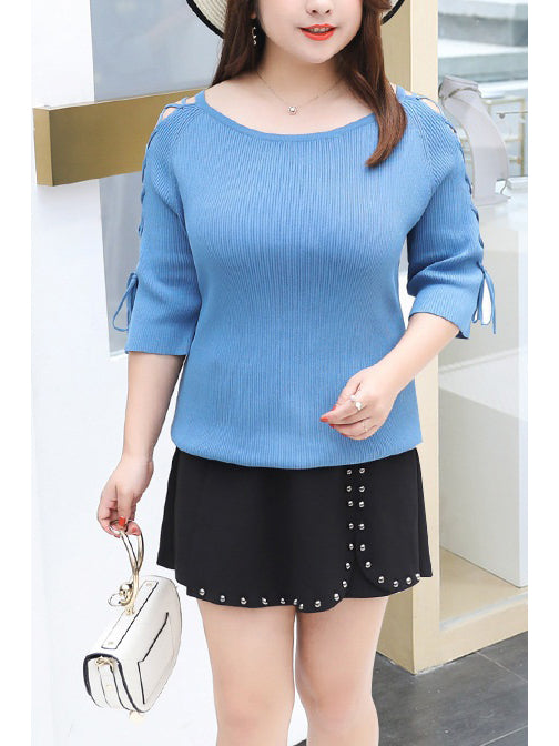 Rinoa Knit Criss Cross Mid Sleeve Top (Black, White, Blue) (EXTRA BIG SIZE)