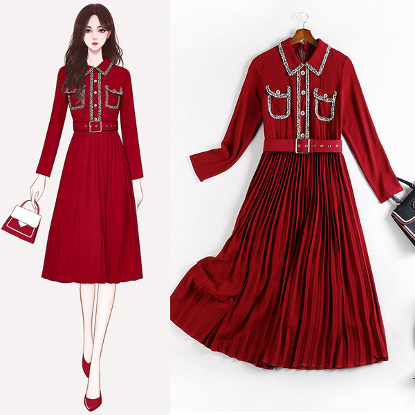 Kwyn plus size red chanel-esque belted pleats shirt dress