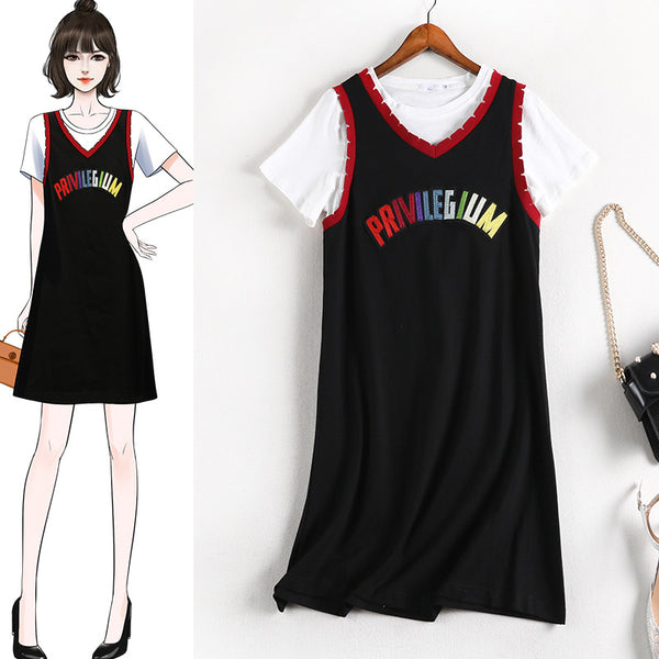 (2 Piece!)Reghan  S/S Tee Shirt and V Neck Embellished Sleeveless Dress Set