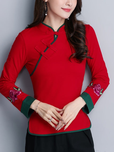Tilda Plus Size Cheongsam Qipao Blouse - Floral Embroidery Red And Green Mandarin Collar Long Sleeve Top (Green, Red) (Suitable For Chinese New Year)