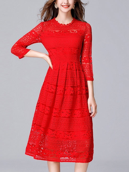 Kaye Red Occasion With Sleeve Lace Midi Dress