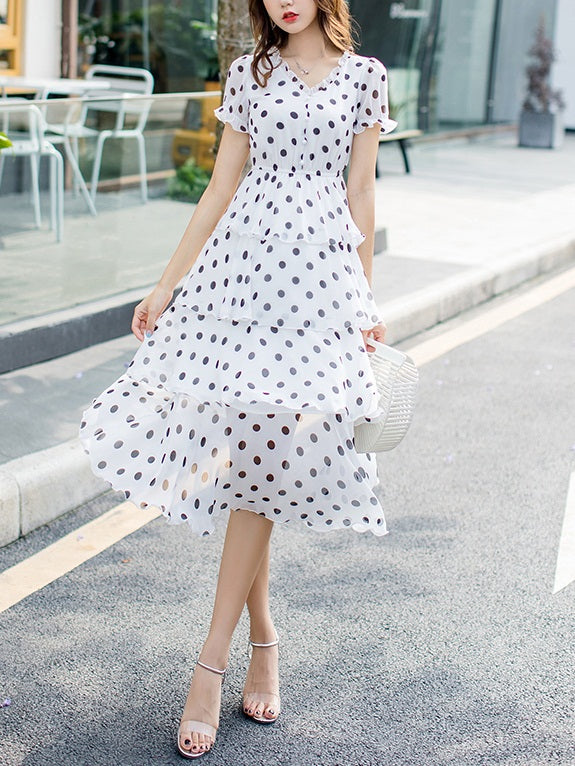Riece Polka Dots Tier Chiffon S/S Midi Dress (Black, White)