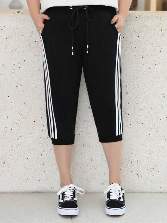 Smilla Cotton White Stripe Side Capri Track Pants (EXTRA BIG SIZE)