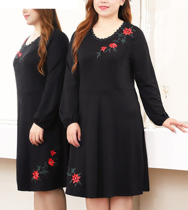 Seren V Neck Floral Embroidery V Neck L/S Midi Dress (EXTRA BIG SIZE)