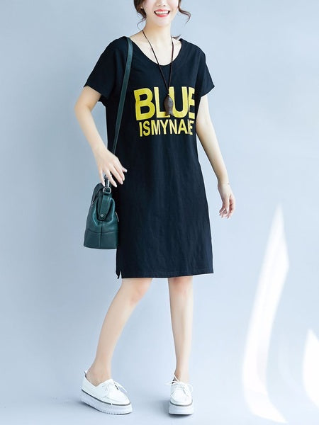 (Black 3XL*1, All Other Options Preorder) Luzviminda Ribbon Back BLUE Tee Dress (EXTRA BIG) (2 COLOURS)