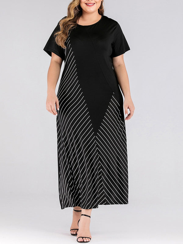 Taryne Plus Size Stripe Asymmetric Short Sleeve Maxi T Shirt Dress (Suitable For Chinese New Year) (EXTRA BIG SIZE)
