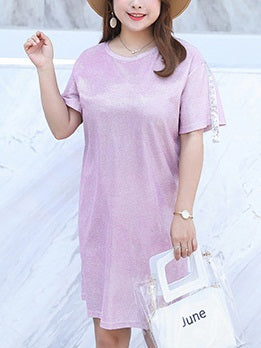 Tahira Plus Size Shimmer Short Sleeve T Shirt Dress (Pink, Black)