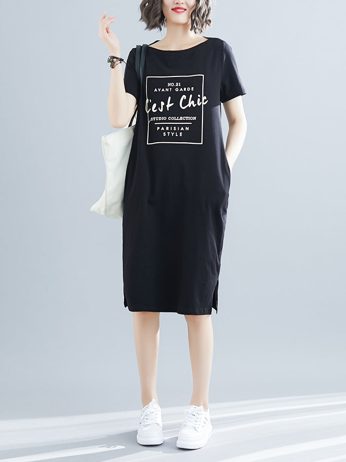 Cest Chic S/S Tee Shirt Dress (Grey, Black)