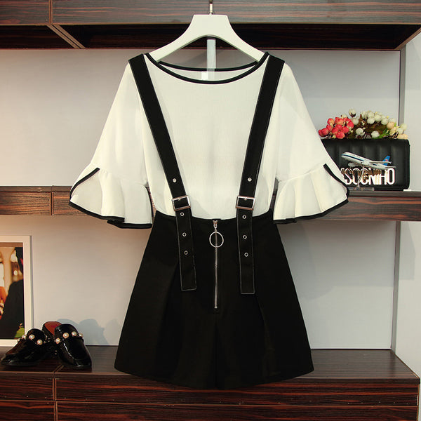 Monochrome Bell Sleeve Mid Sleeve Top and Suspender Shorts Set