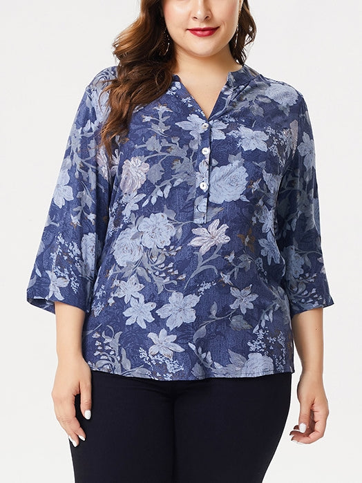 Blue Floral Mid Sleeve Shirt Blouse