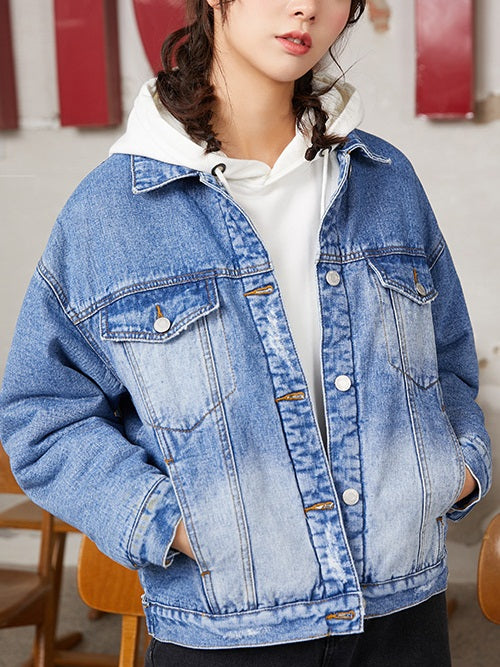 Zayra Plus Size Fleece-inside Autumn / Winter Denim Jacket