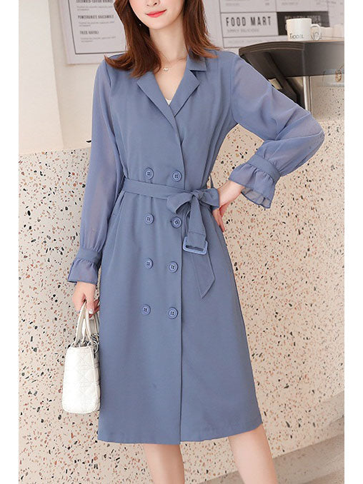 Susana Plus Size Chiffon Long Trench Coat Jacket / Long Sleeve Dress (With Belt)