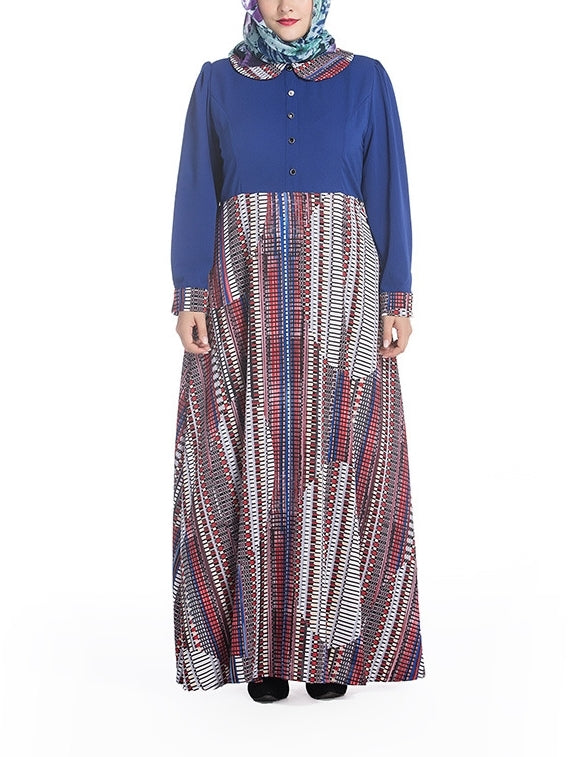 (M-7XL) Galiah Pattern Collar Maxi Dress