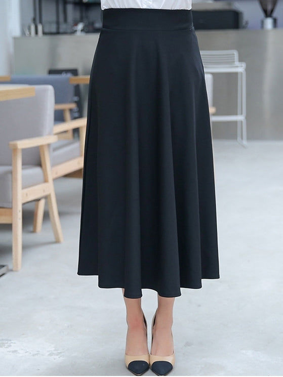 (Black 3XL*1) Edythe Plus Size Black Swing Long Midi Skirt (EXTRA BIG SIZE)