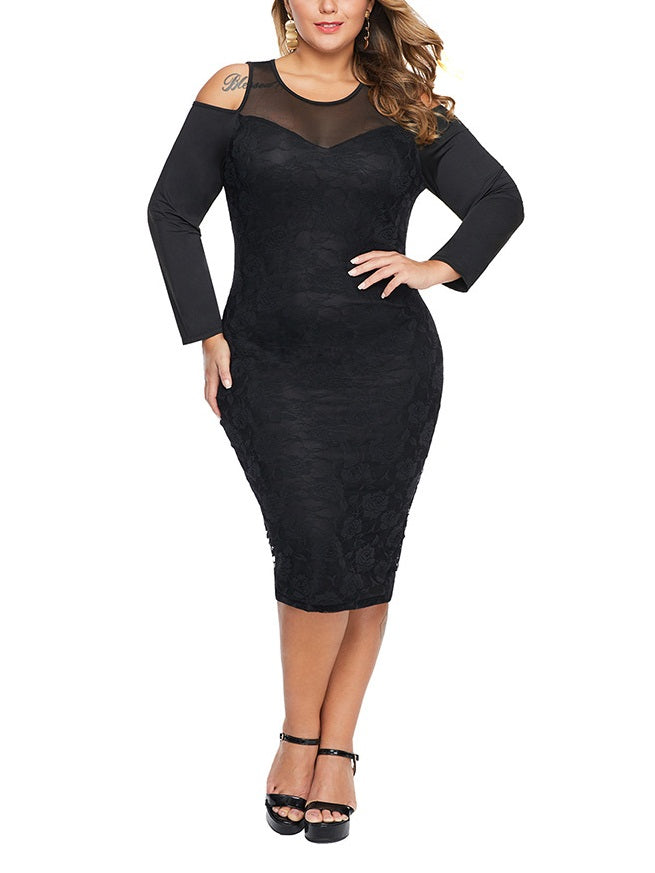 Sonora Plus Size Dinner Occasion Club Night Out Evening Evening Dress Off Shoulder Bodycon Sexy Elegant Sweetheart Neckline Lace Long Sleeve Dress (White, Black) (EXTRA BIG SIZE)