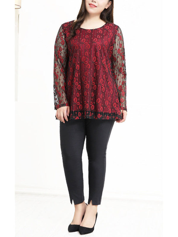 Serenah Red Leafs Lace L/S Top (EXTRA BIG SIZE)