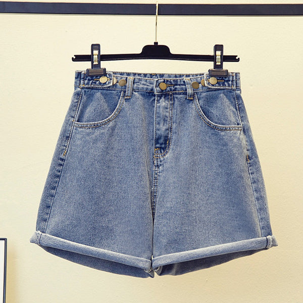 Zita Plus Size Buttons Denim Shorts