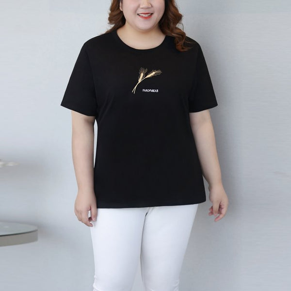 Plus Size Embroidery Cotton Short Sleeve T Shirt Top (EXTRA BIG SIZE)