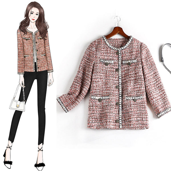 Kyanne plus size chanel-esque tweed dressy jacket