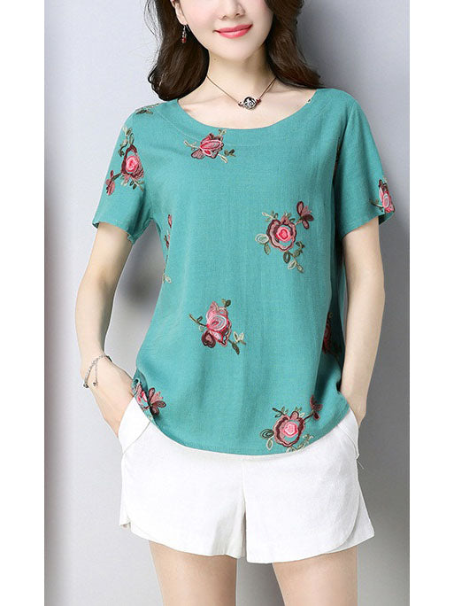 Trillium Plus Size Floral Embroidery Loose Short Sleeve Blouse (Red, White, Blue, Orange, Green)