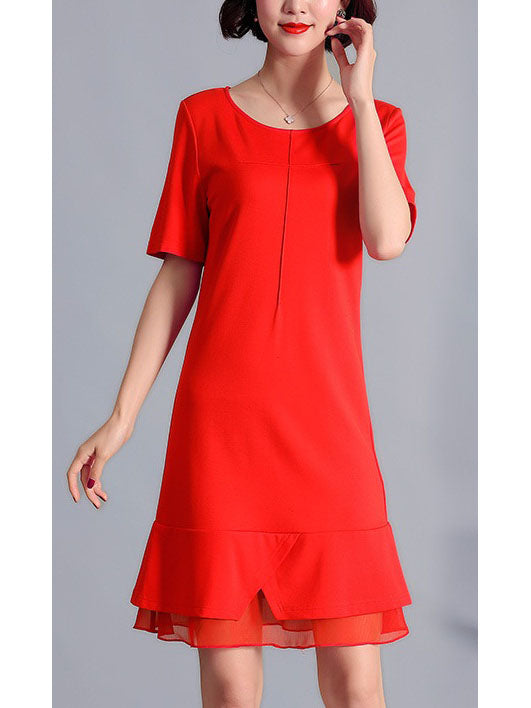 Ulrika Plus Size Red Layer Short Sleeve Dress With Waist Belt (Suitable For Dinners, Work, Chinese New Year And Weekends) (Red)