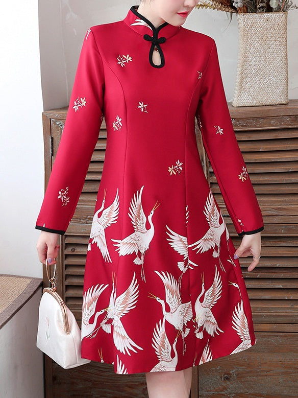 Talise Plus Size Cheongsam Qipao Casual Work Office Chinese New Year Chinese Cranes Swing Long Sleeve Dress (Red, Black)