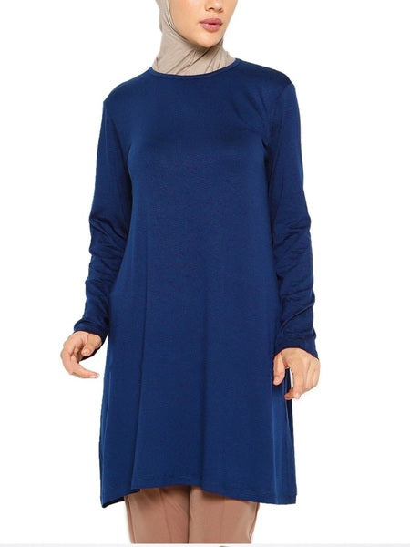 (S-4XL) Kiira Tunic Cotton Plus Size Hijab Muslim Long Sleeve T Shirt Tunic Top (Extremely Comfortable!)