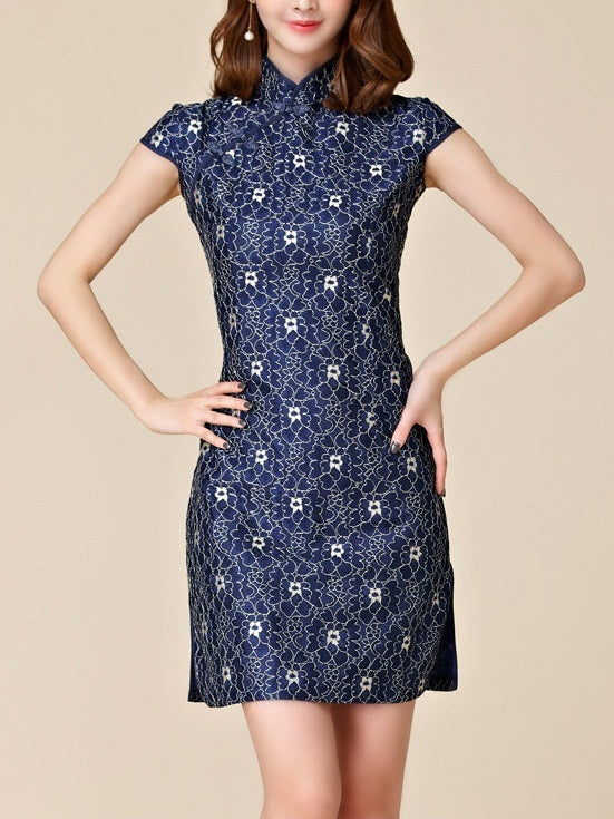 (M-3XL) Kalliniki Navy Lace Plus Size Cheongsam Qipao Short Dress