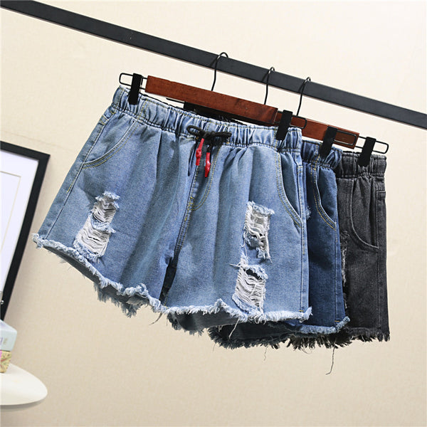 Żaklina Plus Size Distressed Denim Shorts (Light Blue, Dark Blue, Grey)