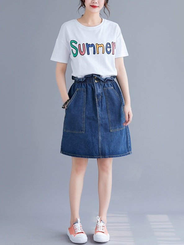 Rozanne Denim Skirt (EXTRA BIG SIZE)