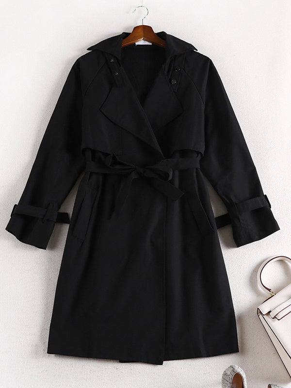 Sif Black Tunic Trench Coat Jacket