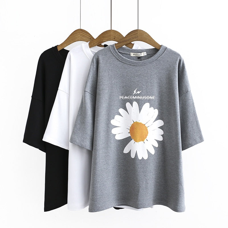 Crissy Plus Size Sunflower Graphic Short  Sleeve T Shirt Top (Black, White, Grey)